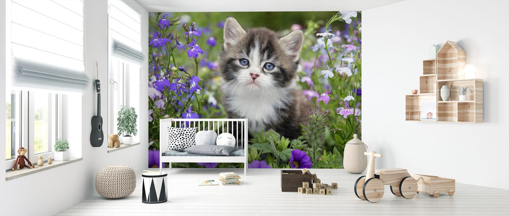 Kitten in Flower Garden - Wallpaper - Nursery