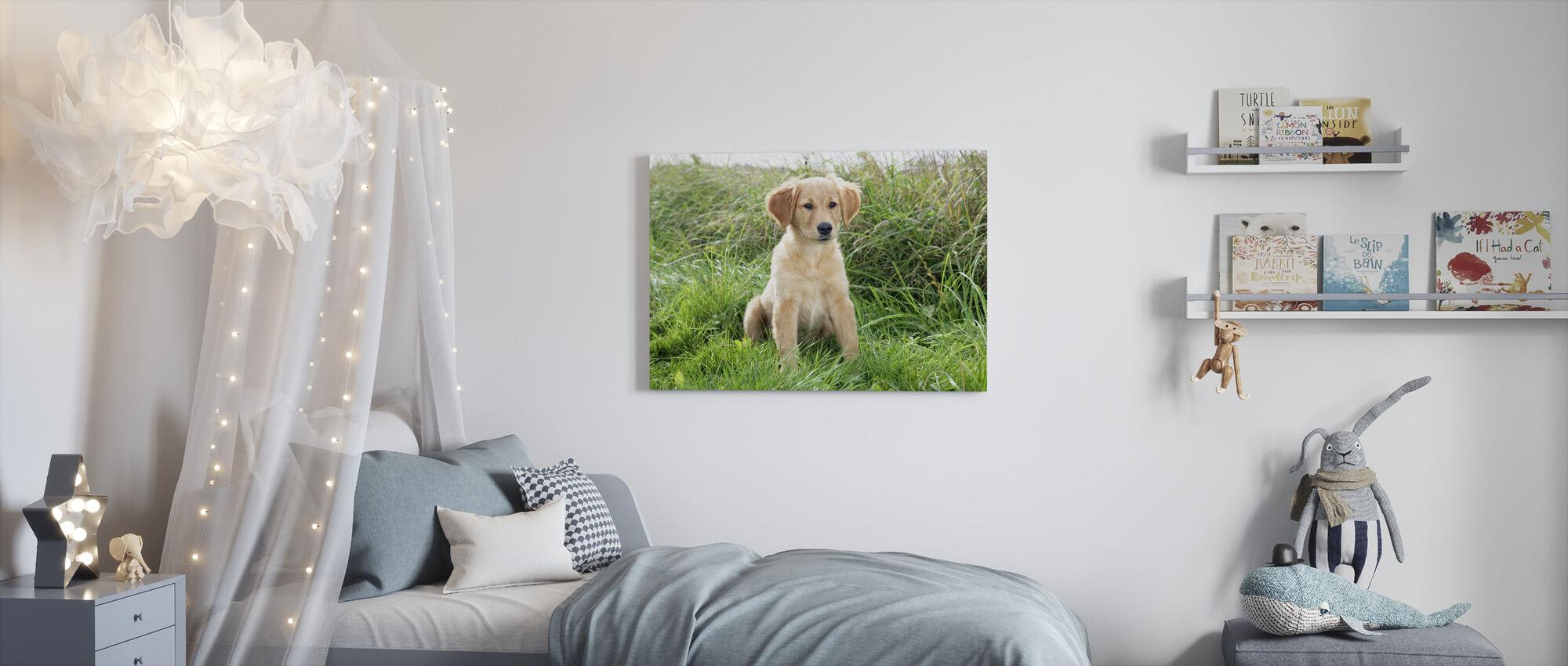 Golden Retriever Puppy in Meadow - Canvas print - Kids Room