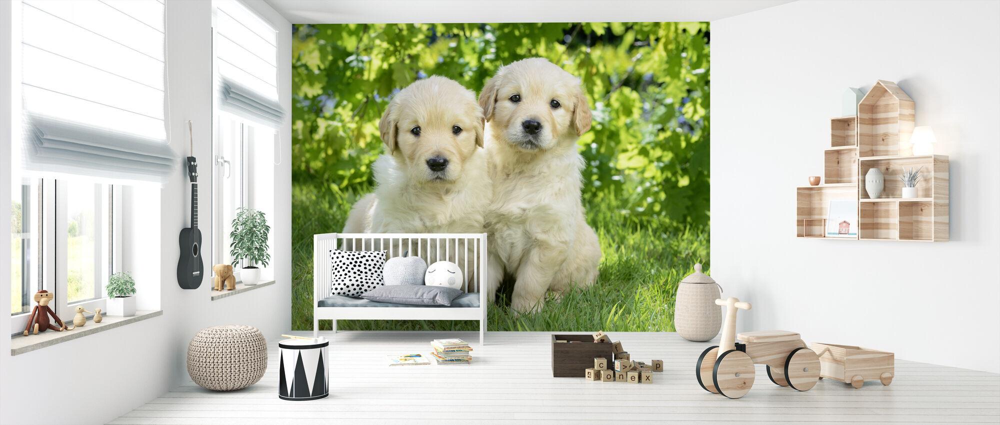 To hunde i haven - Tapet - Babyværelse