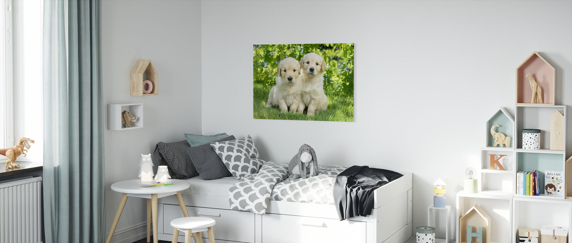 Two Dogs in Garden - Canvas print - Kids Room