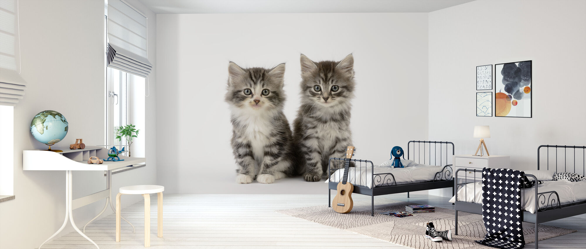 Cats White Background - Wallpaper - Kids Room