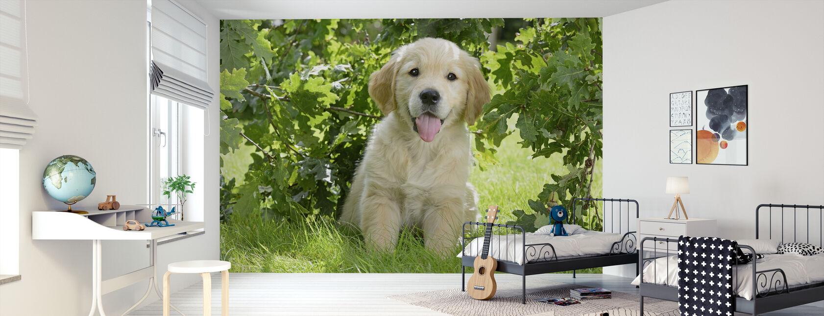 Golden Retriever Puppy - Behang - Kinderkamer