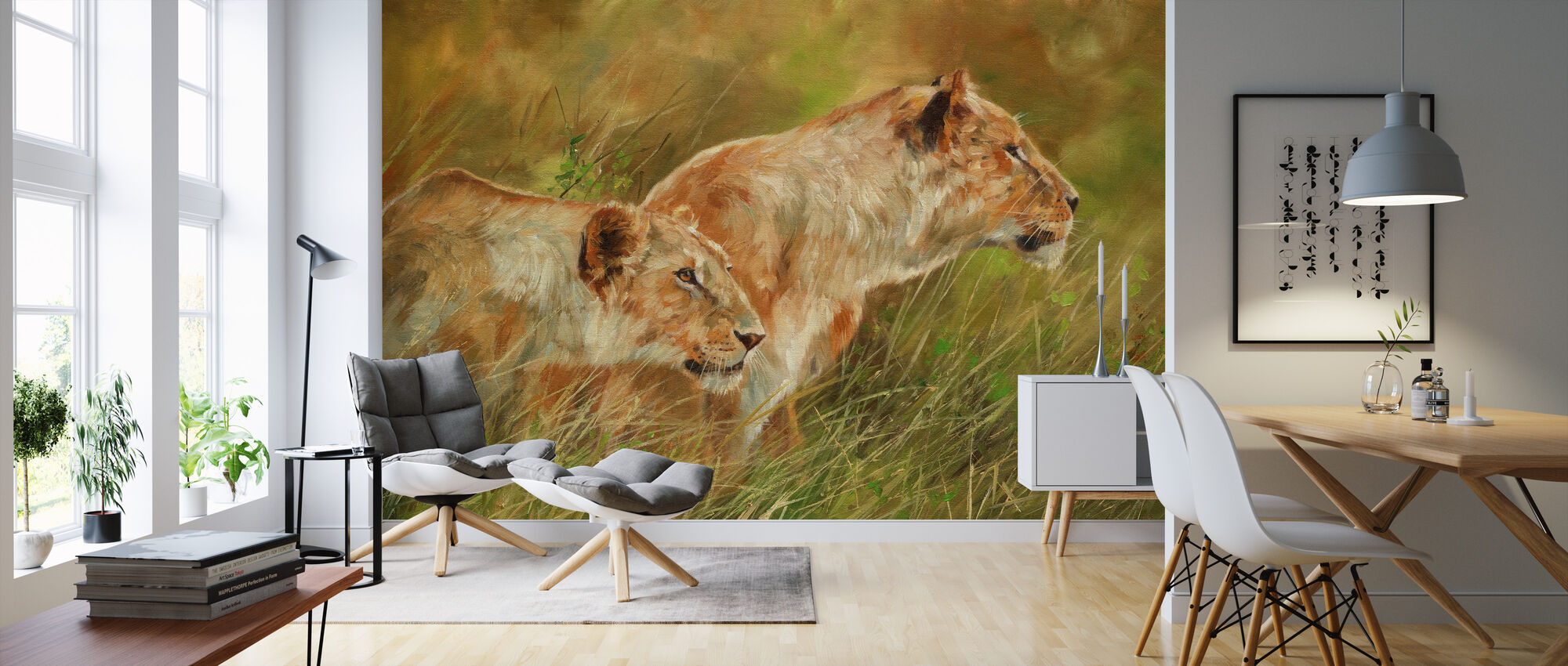 Lionesses - Wallpaper - Living Room