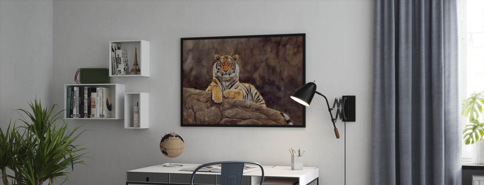 Siberian Tiger on Rock - Framed print - Office