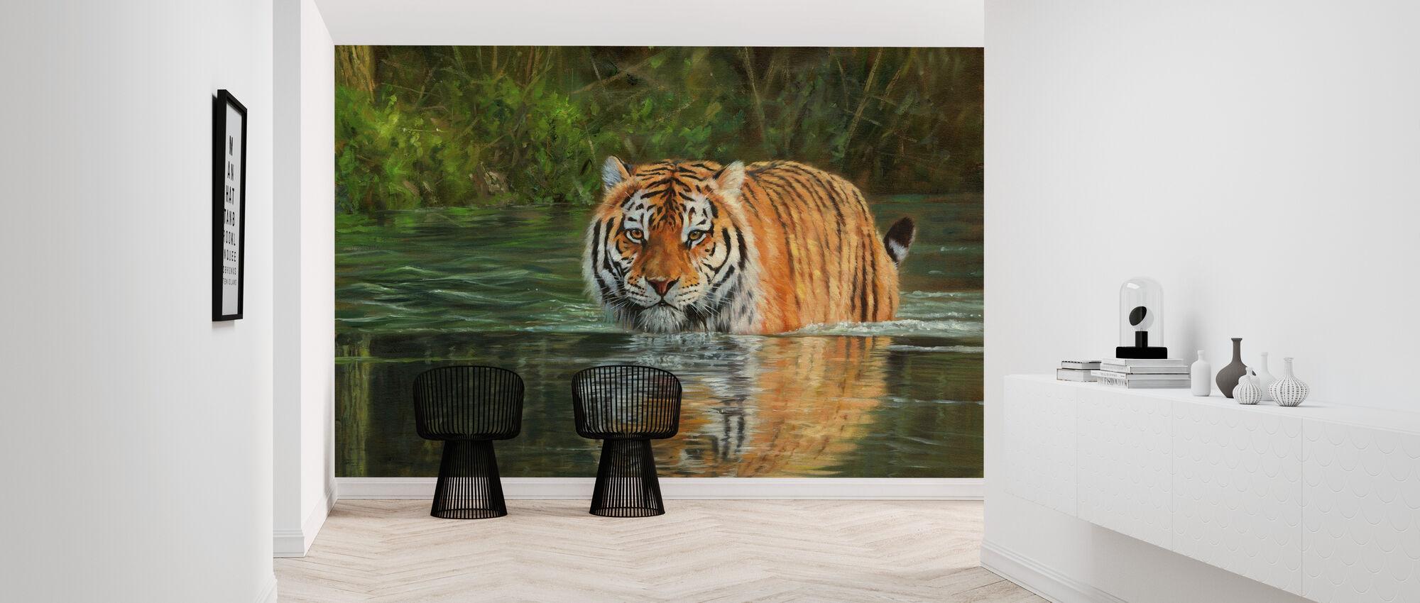 Tiger im Wasser - Tapete - Flur