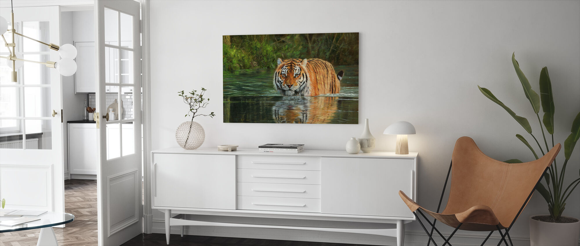 Tijger in Water - Canvas print - Woonkamer