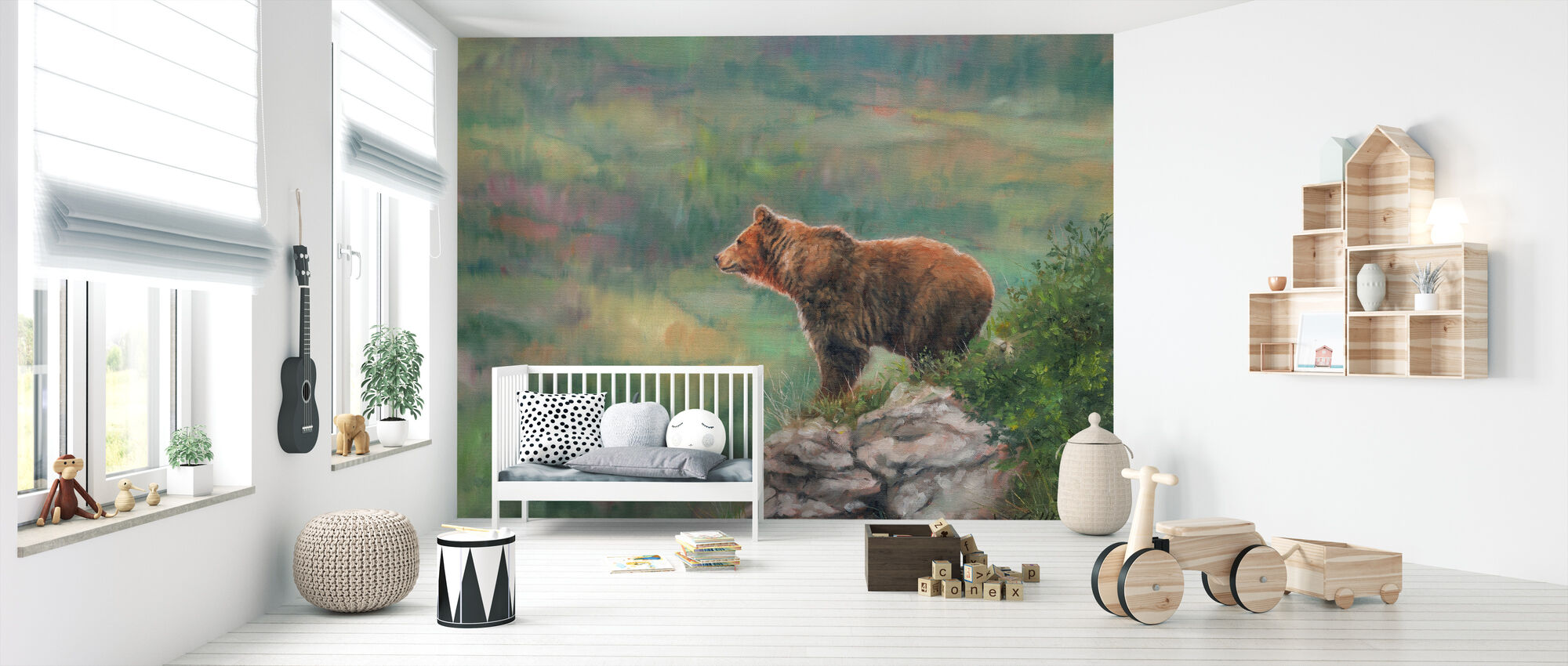 Euroopan ruskea Karhu - Tapetti - Vauvan huone