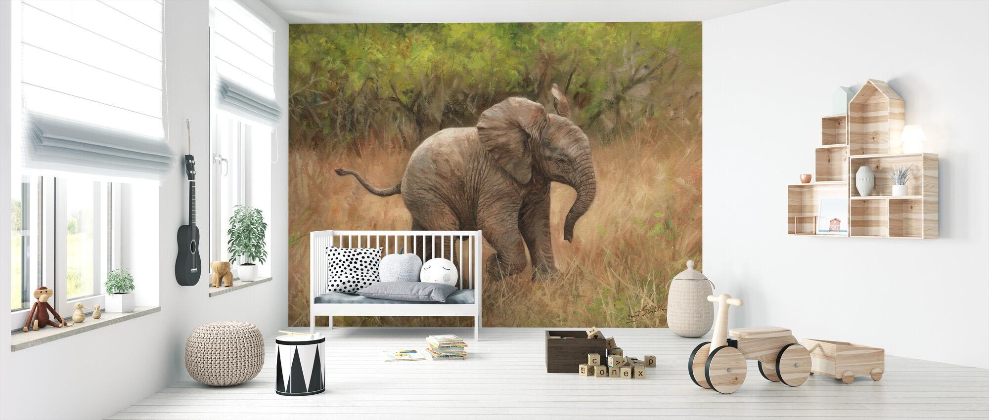 Baby Afrikaanse Olifant - Behang - Babykamer