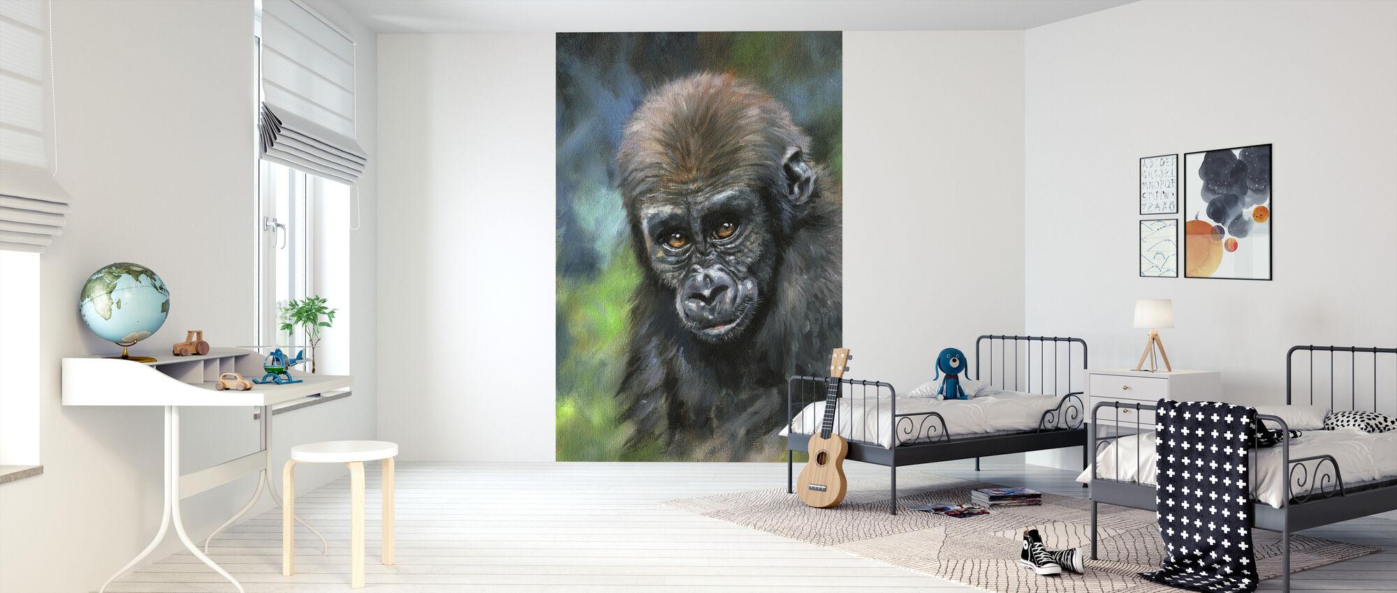 Junge Gorilla - Tapete - Kinderzimmer