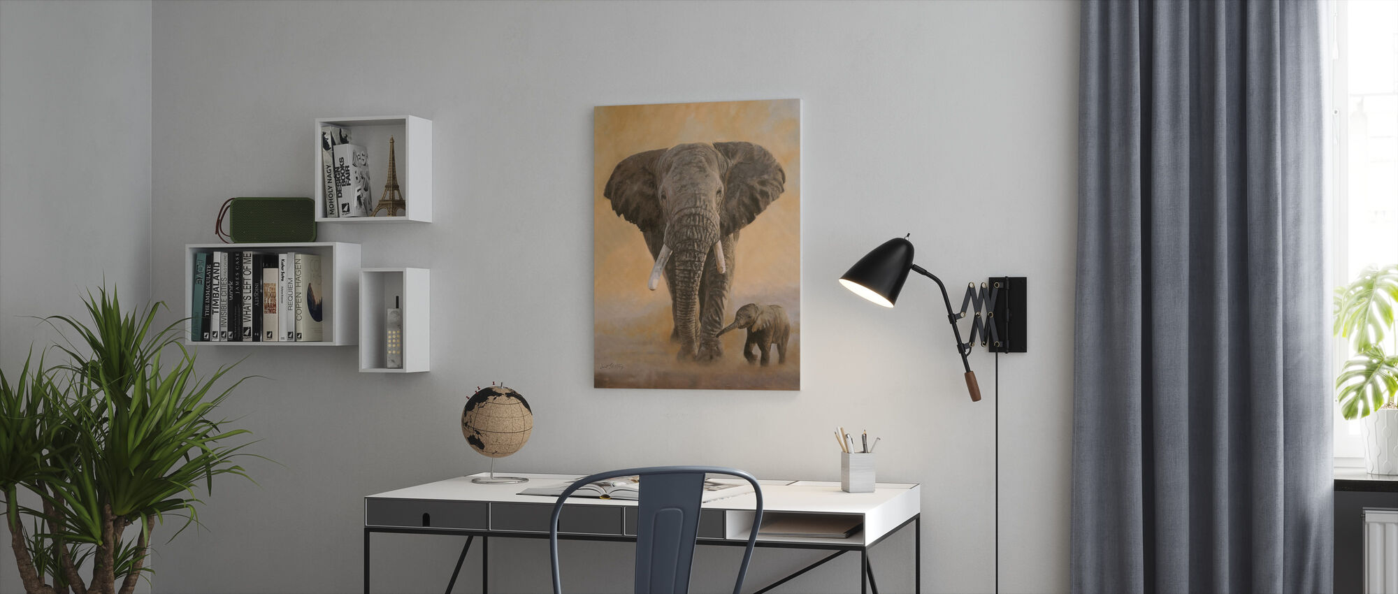 Elephant and Baby - Canvas print - Office