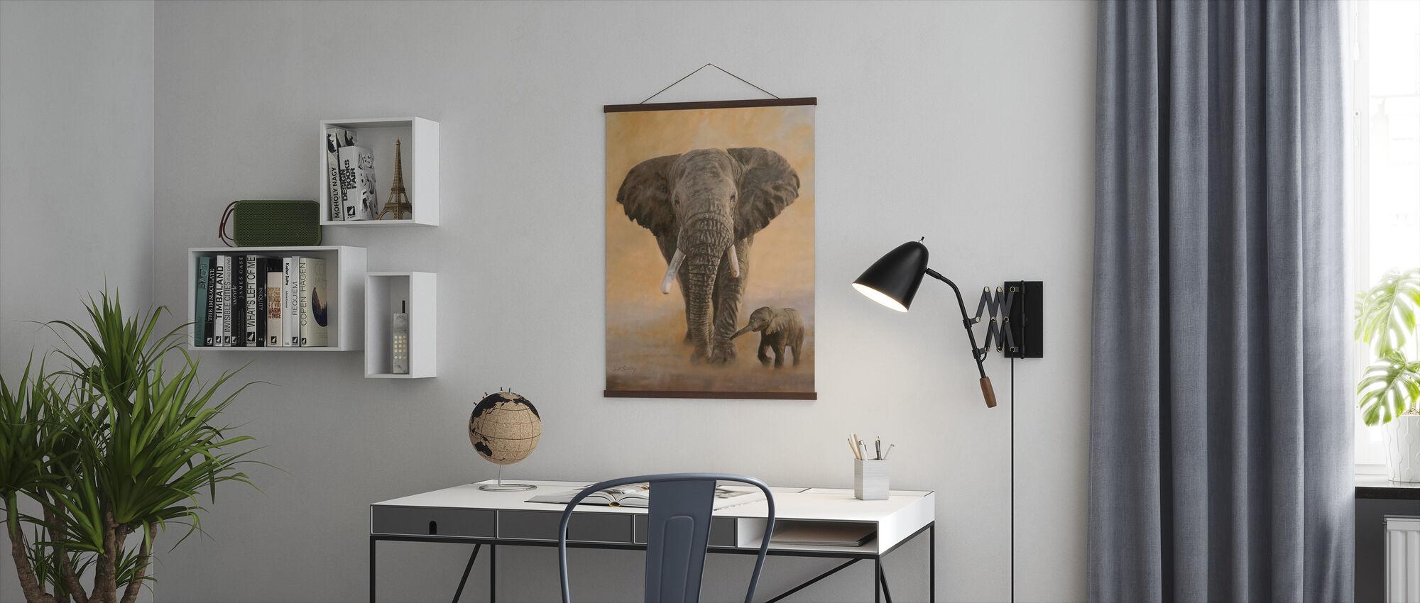 Elefant og baby - Plakat - Kontor