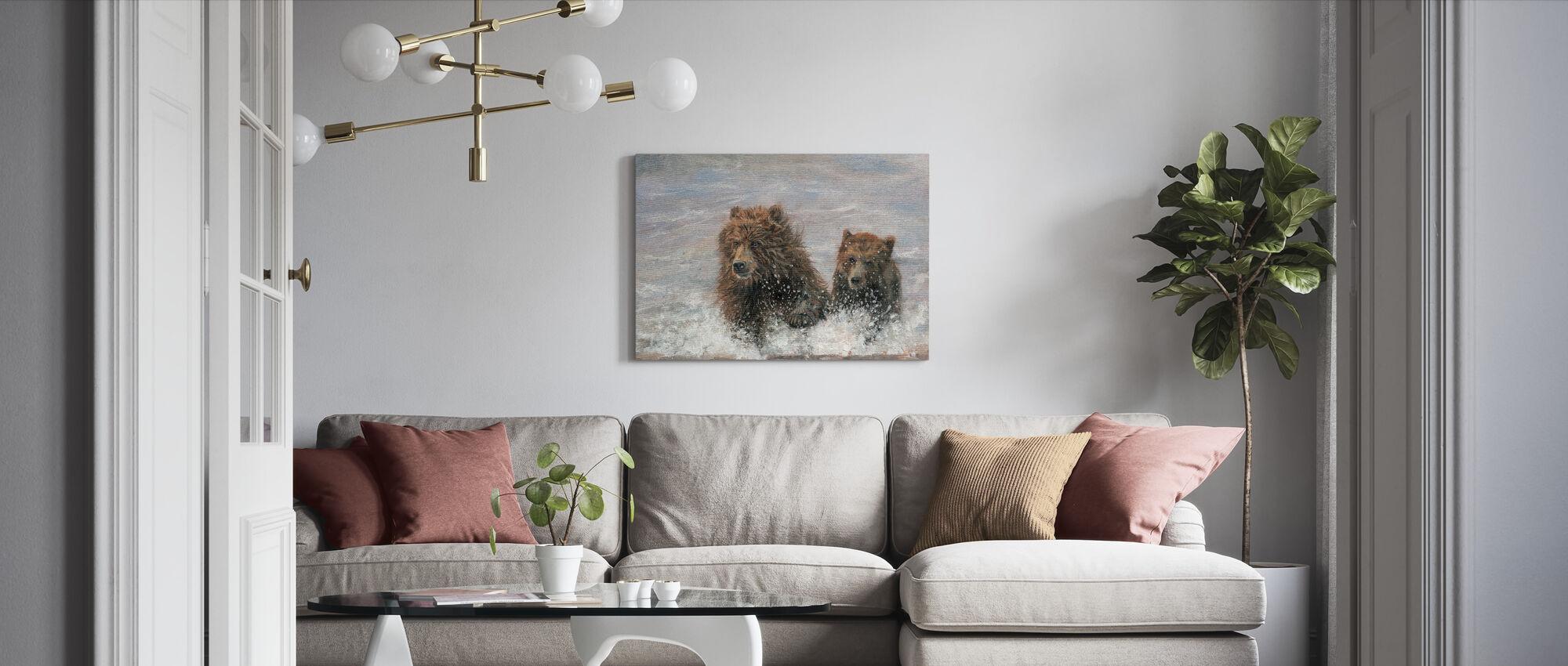 Björnarna kommer - Canvastavla - Vardagsrum