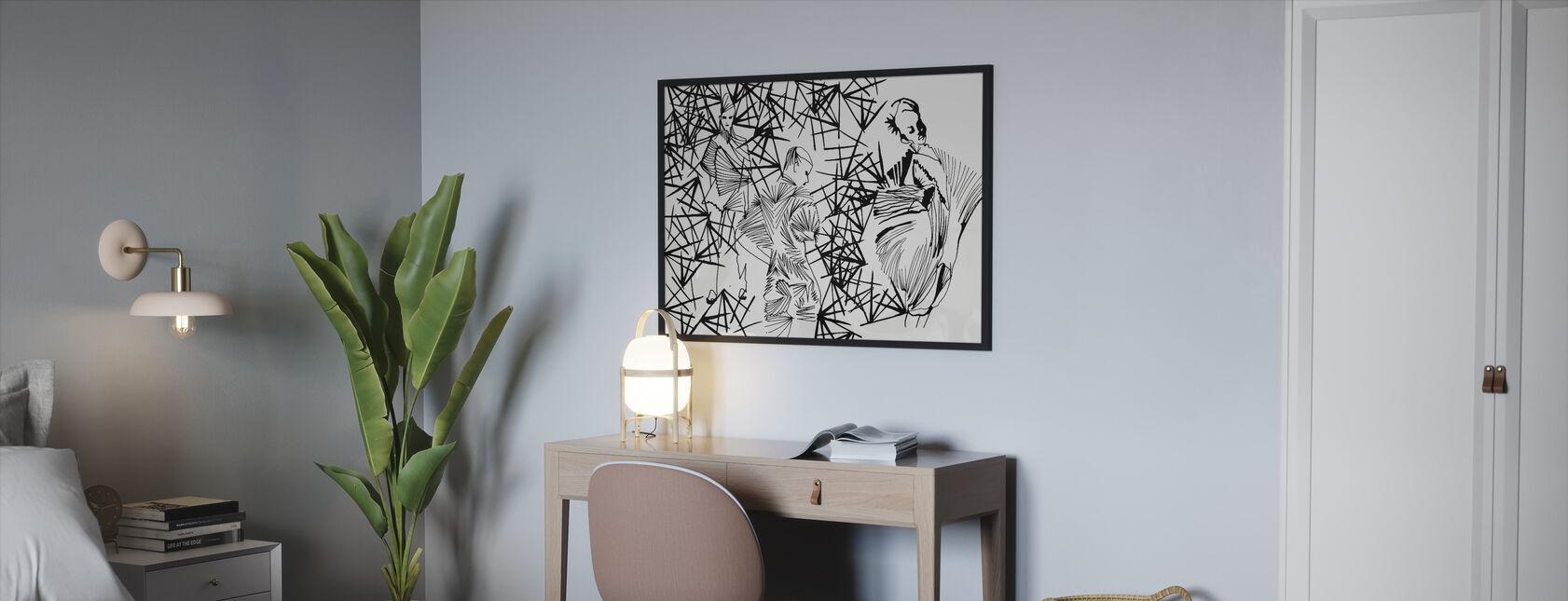 Laskostettu kauneus - Kehystetty kuva - Makuuhuone
