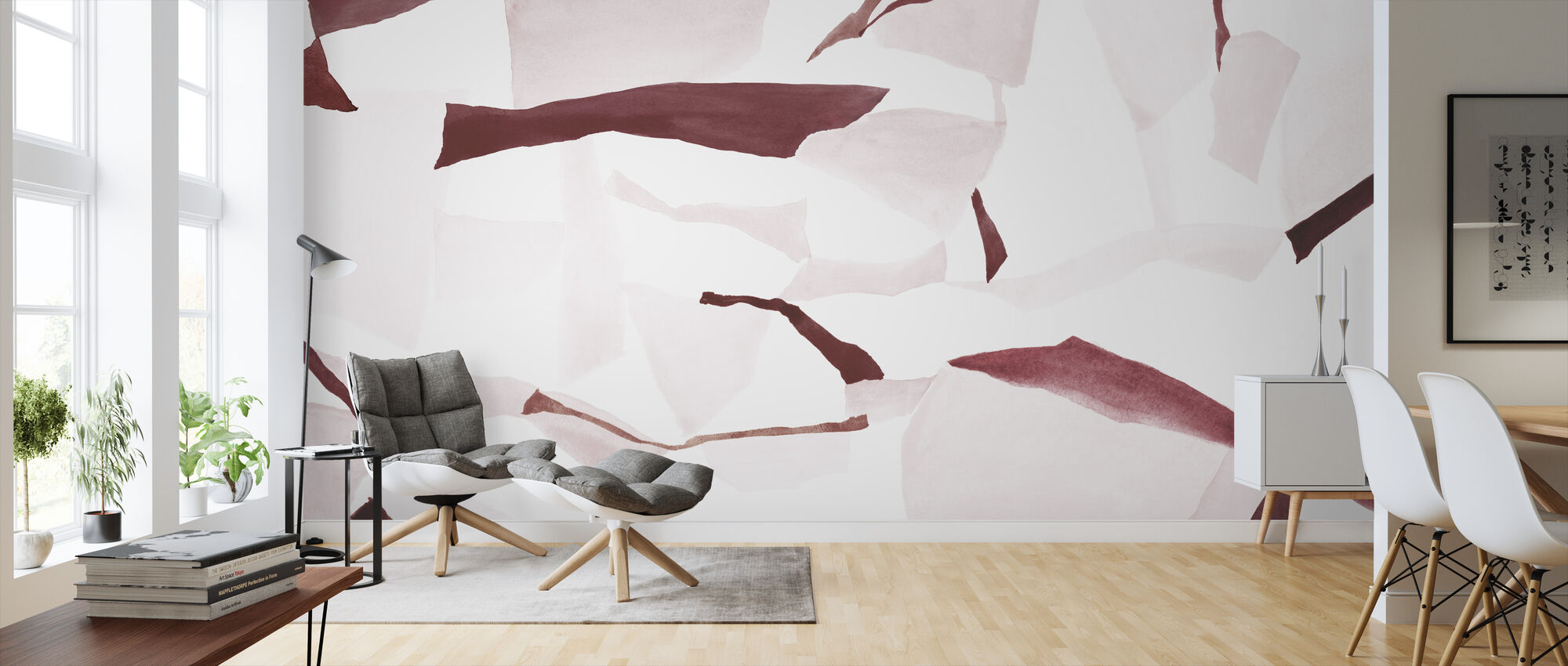 Fractal Burgundy and Pink - Wallpaper - Living Room