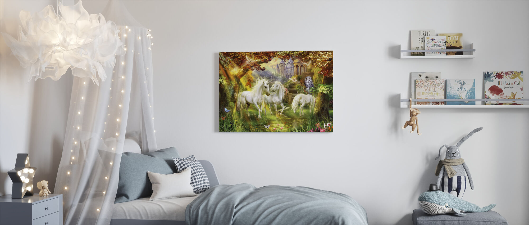 Magical Unicorn Forest Amended - Canvas print - Kids Room