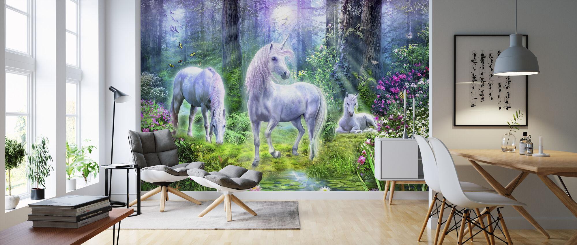 Wald Einhorn Familie - Tapete - Wohnzimmer