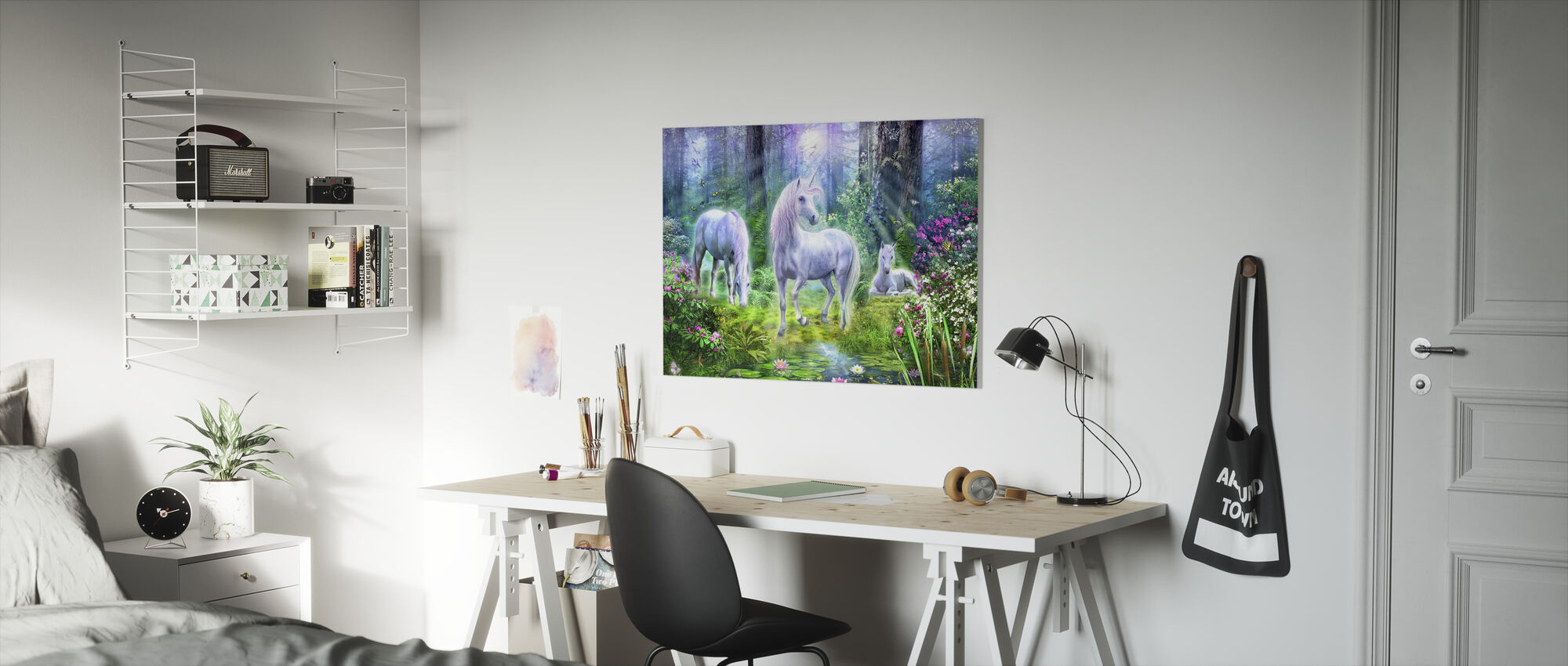 Forest Unicorn Family - Canvas print - Kids Room