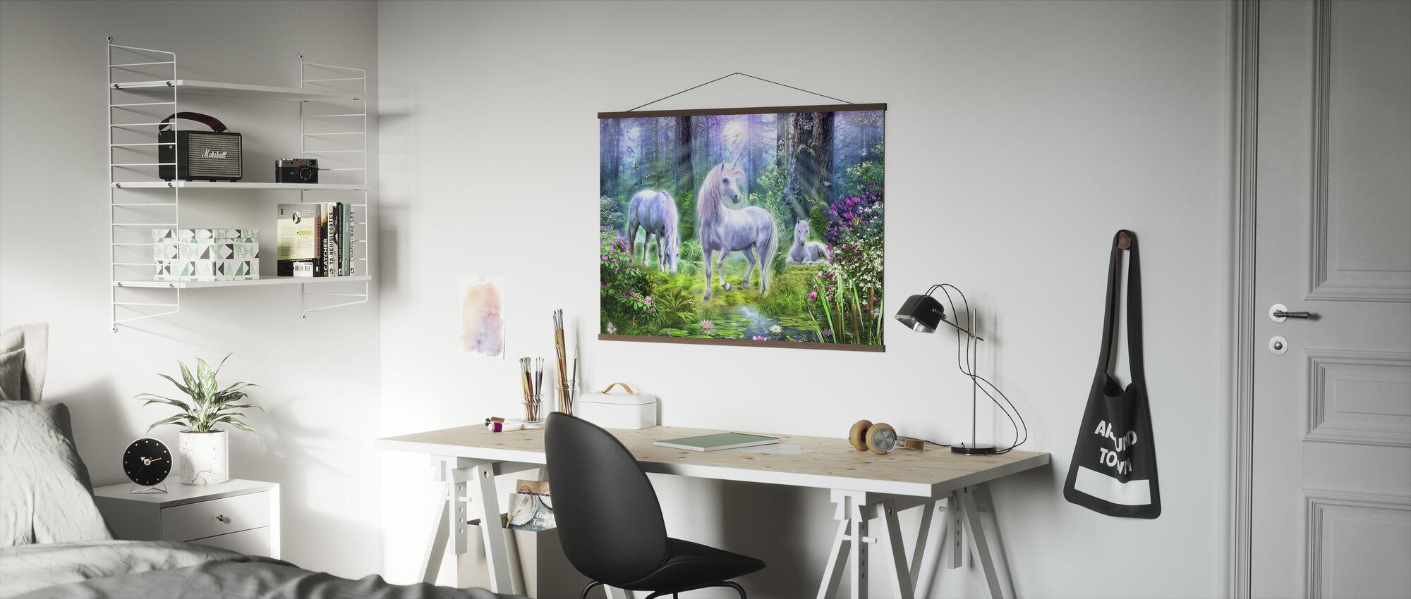 Skog Enhörning Familj - Poster - Kontor