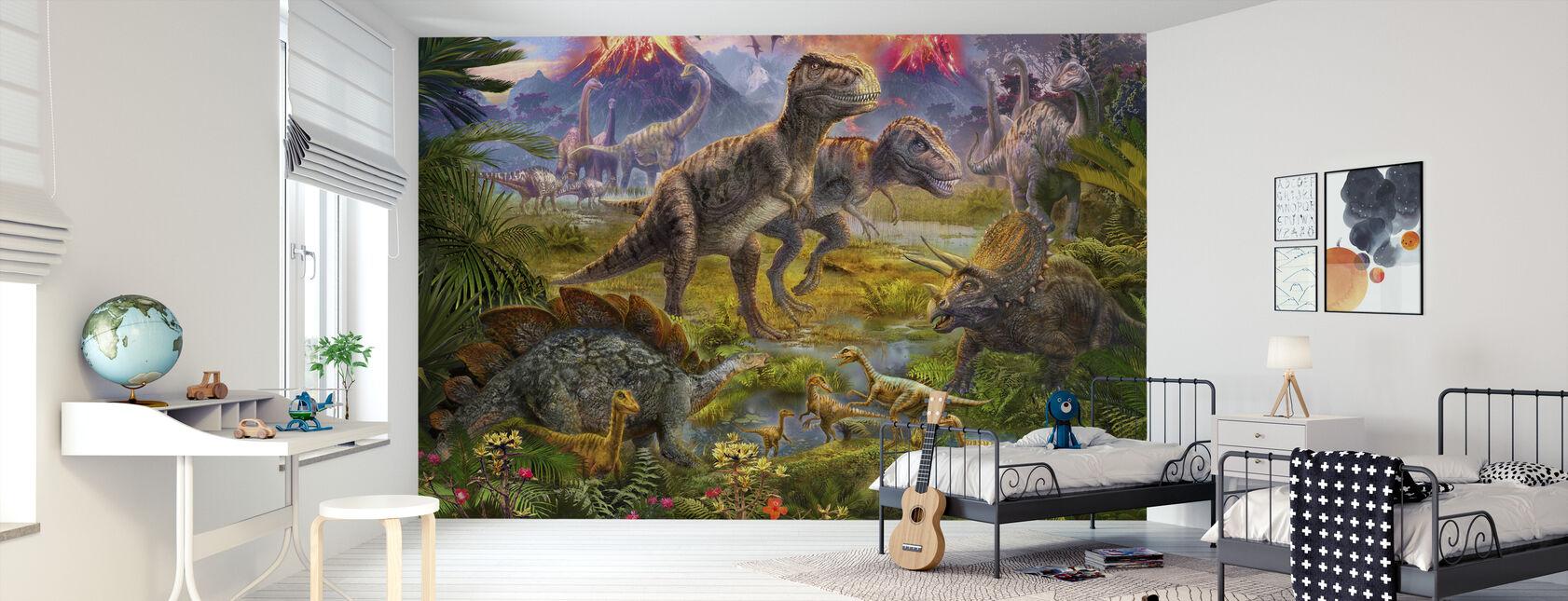 Encuentro de dinosaurios - Papel pintado - Cuarto de niños