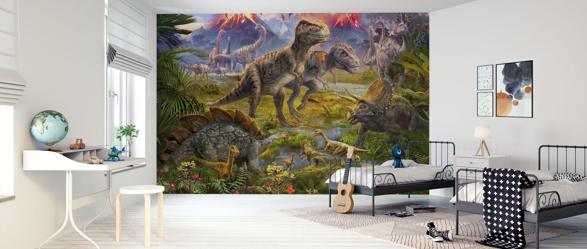 Dinosaurie Samling - Tapet - Barnrum