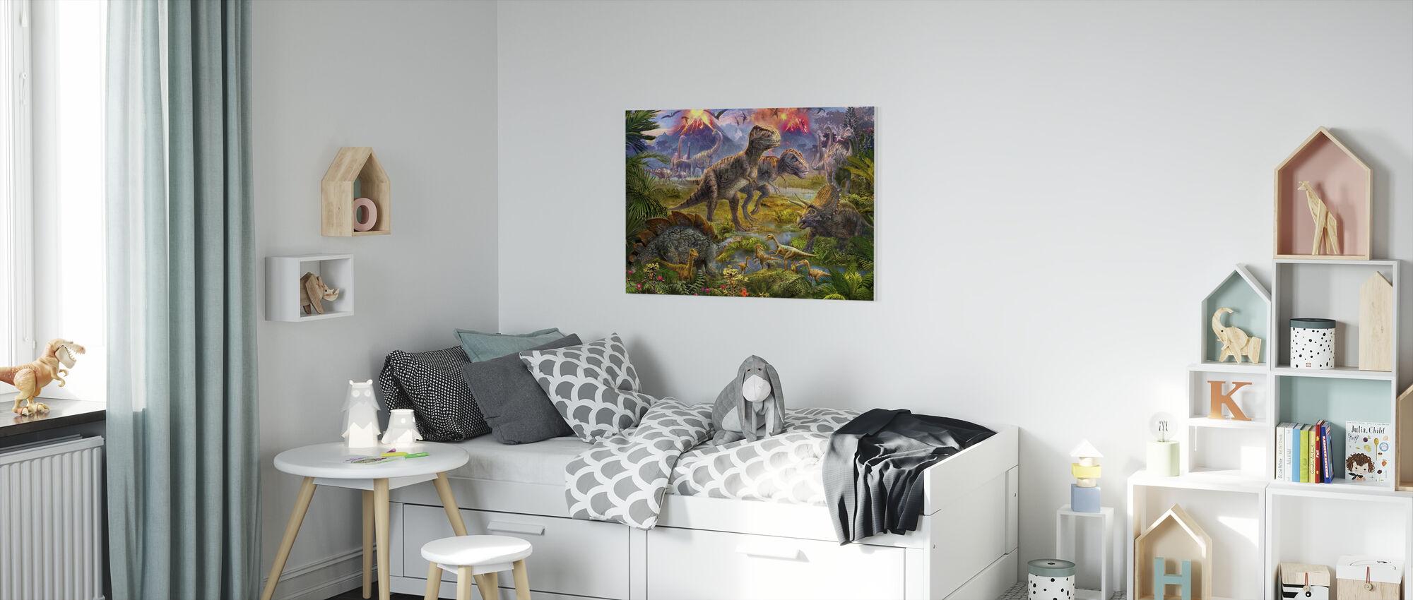 Dinosaur Gathering - Canvas print - Kids Room