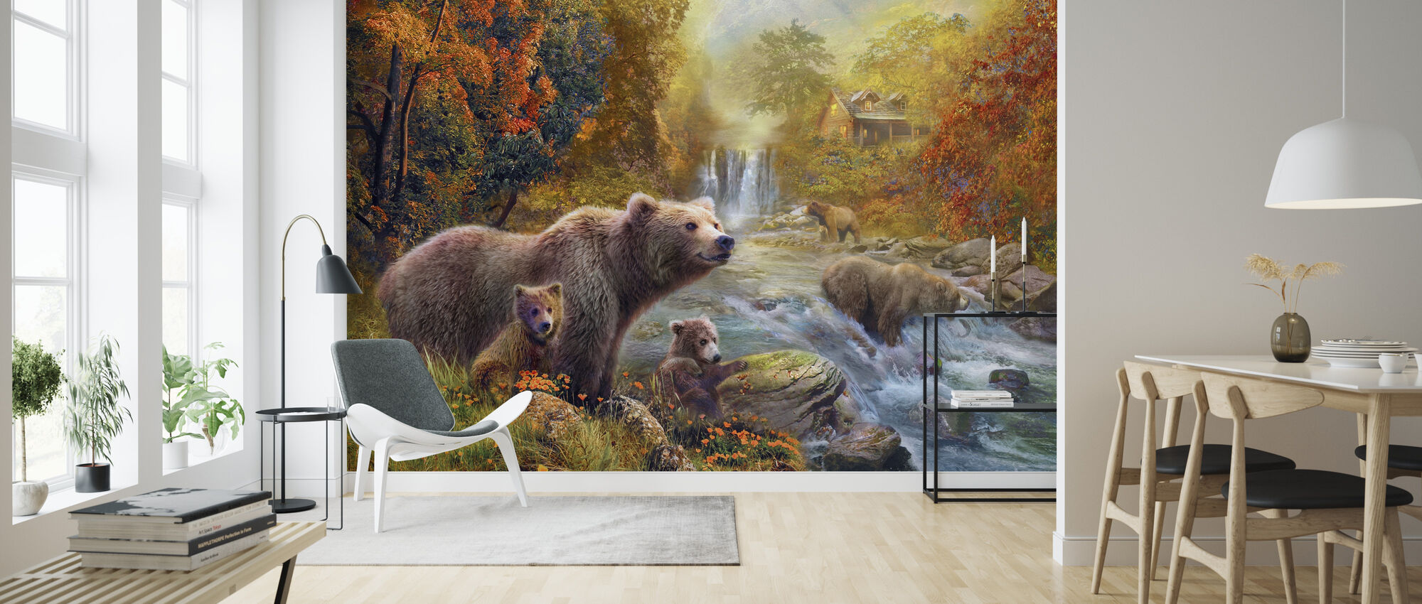 Bears by the Stream - Wallpaper - Living Room