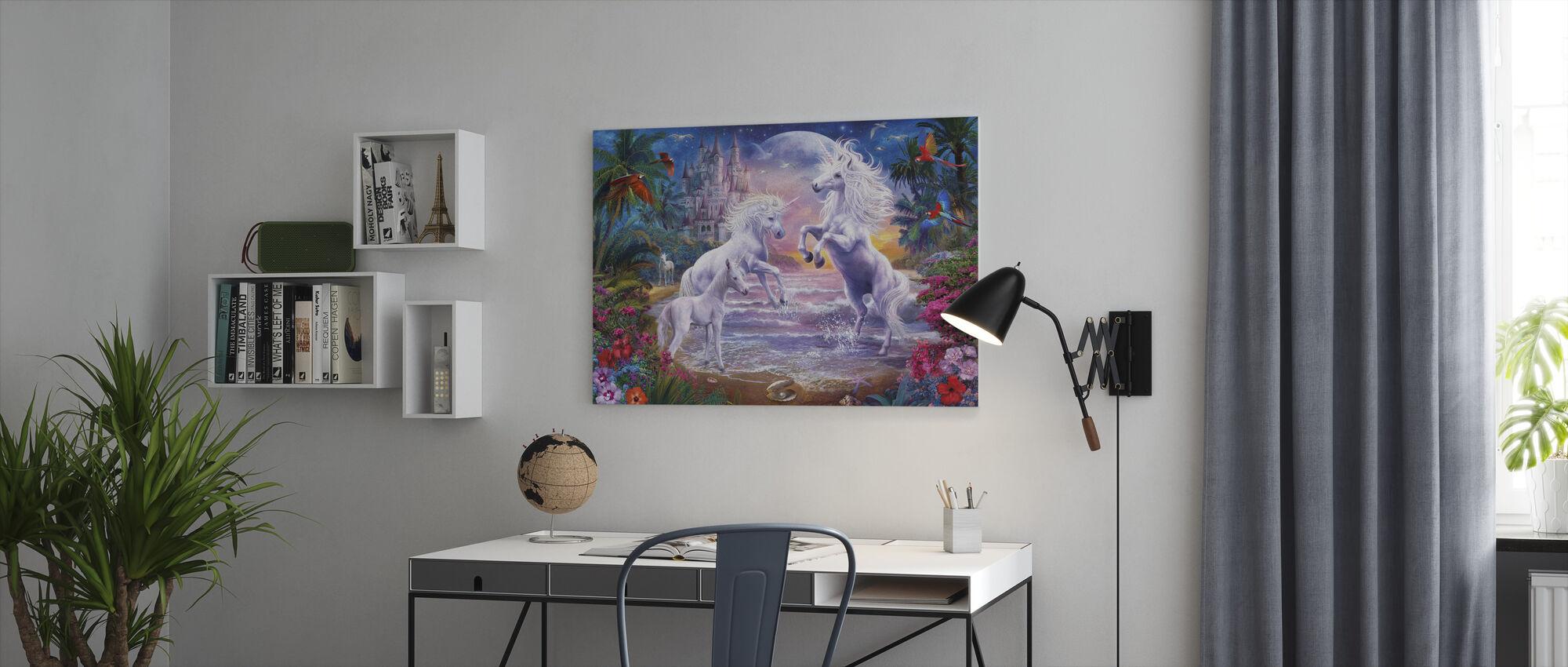 Strand Enhörningar - Canvastavla - Kontor