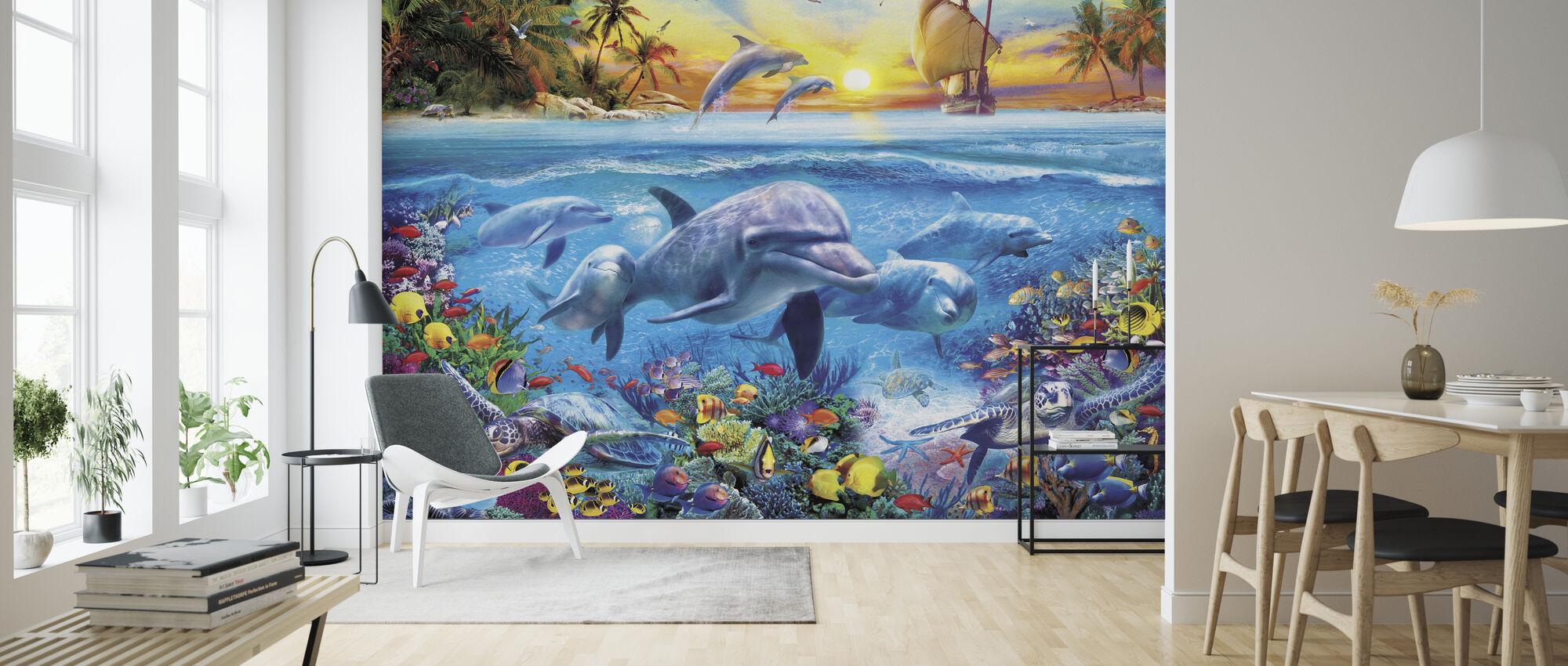 Dolfijnen en Schip - Behang - Woonkamer
