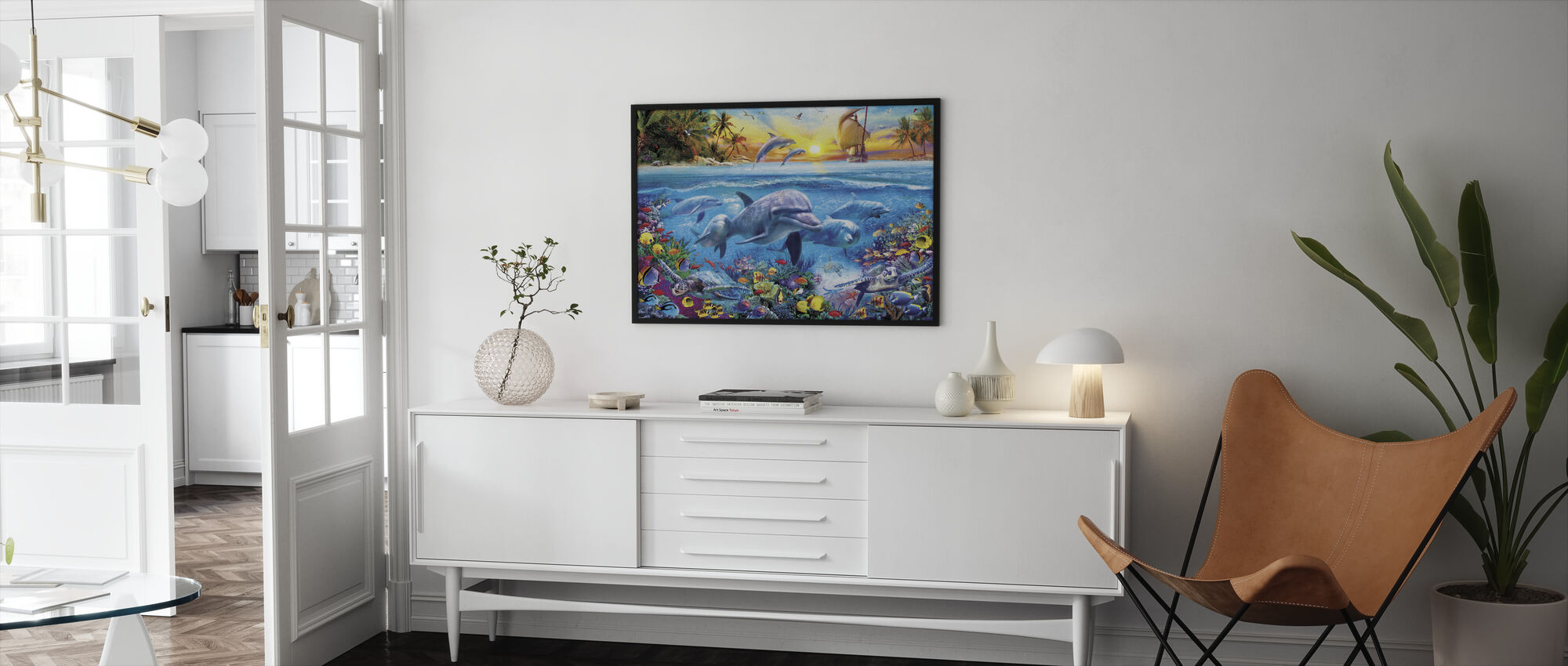 Dolphins and Ship - Framed print - Living Room