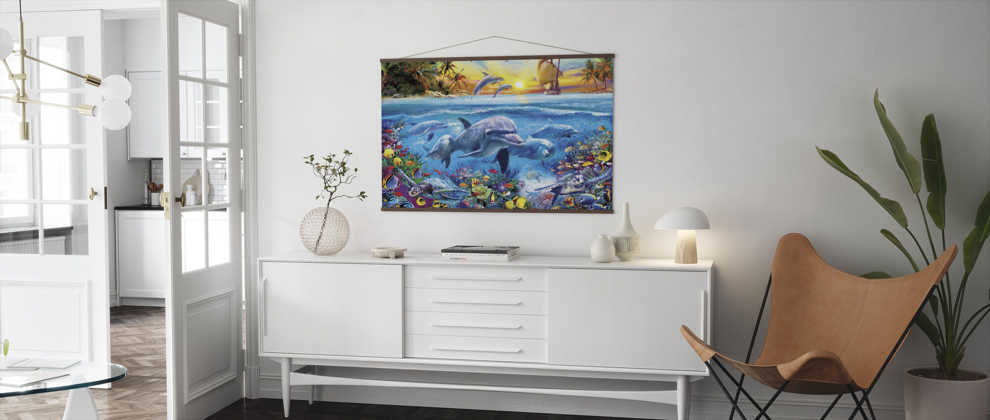 Dolphins and Ship - Poster - Living Room