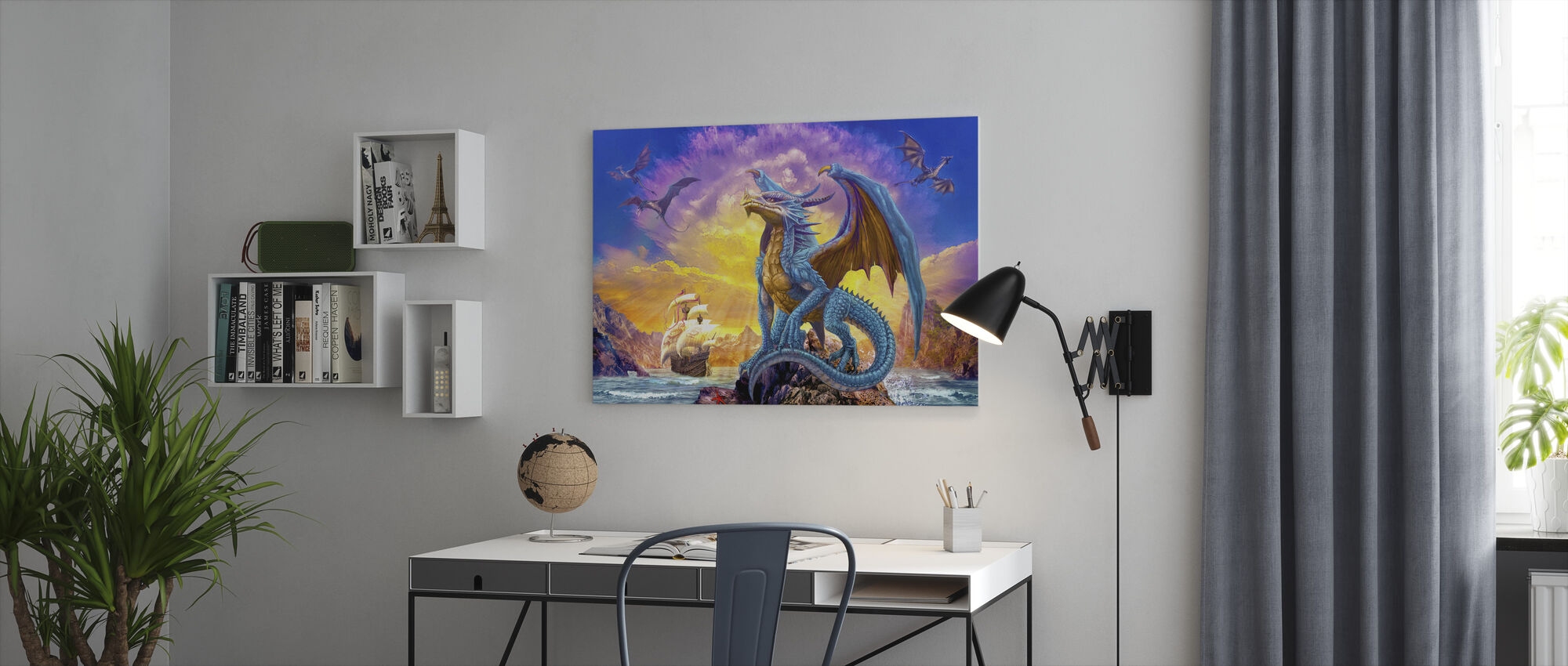 Dragons and Ship - Canvas print - Office