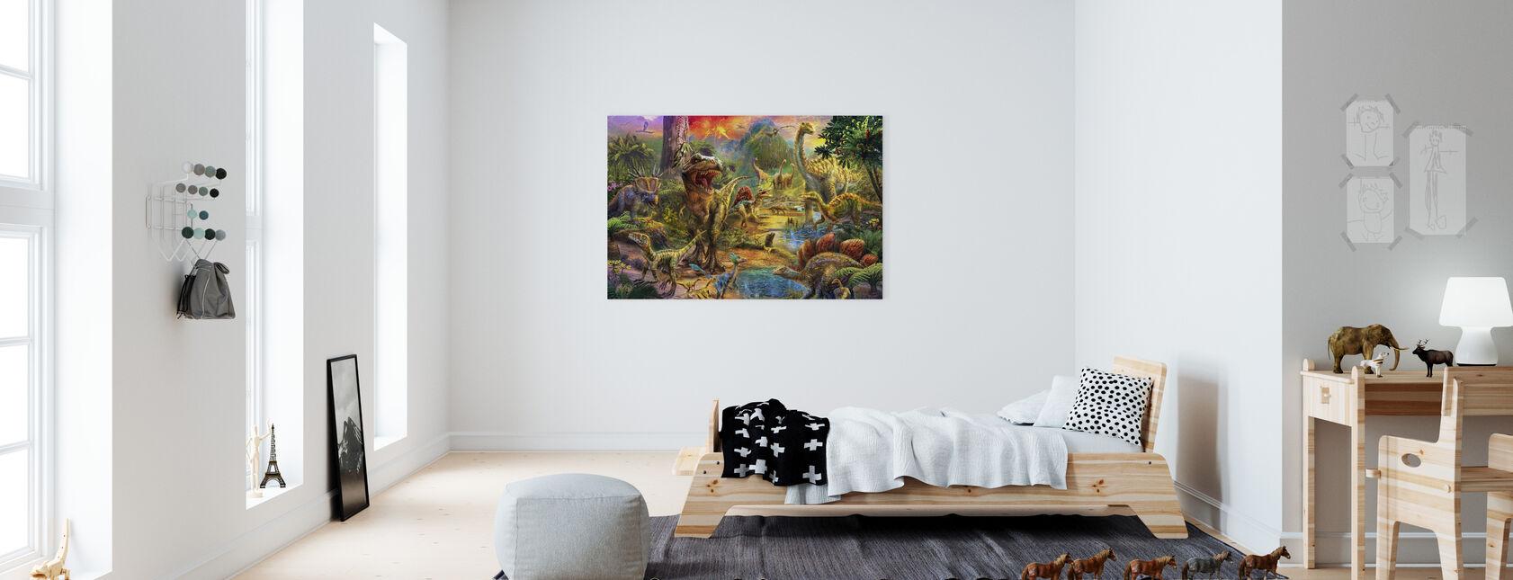 Landschap van Dinosaurussen - Canvas print - Kinderkamer