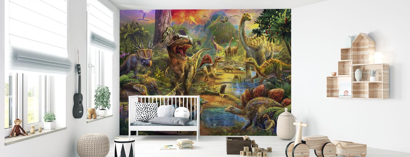 Landskab af dinosaurer - Tapet - Babyværelse