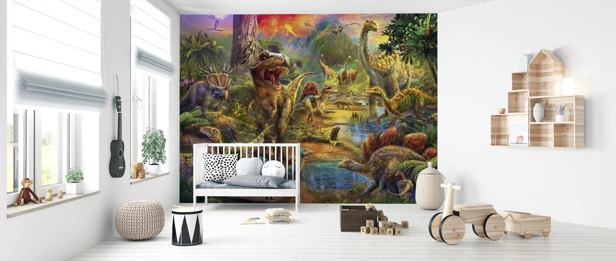 Landskap av dinosaurier - Tapet - Babyrum