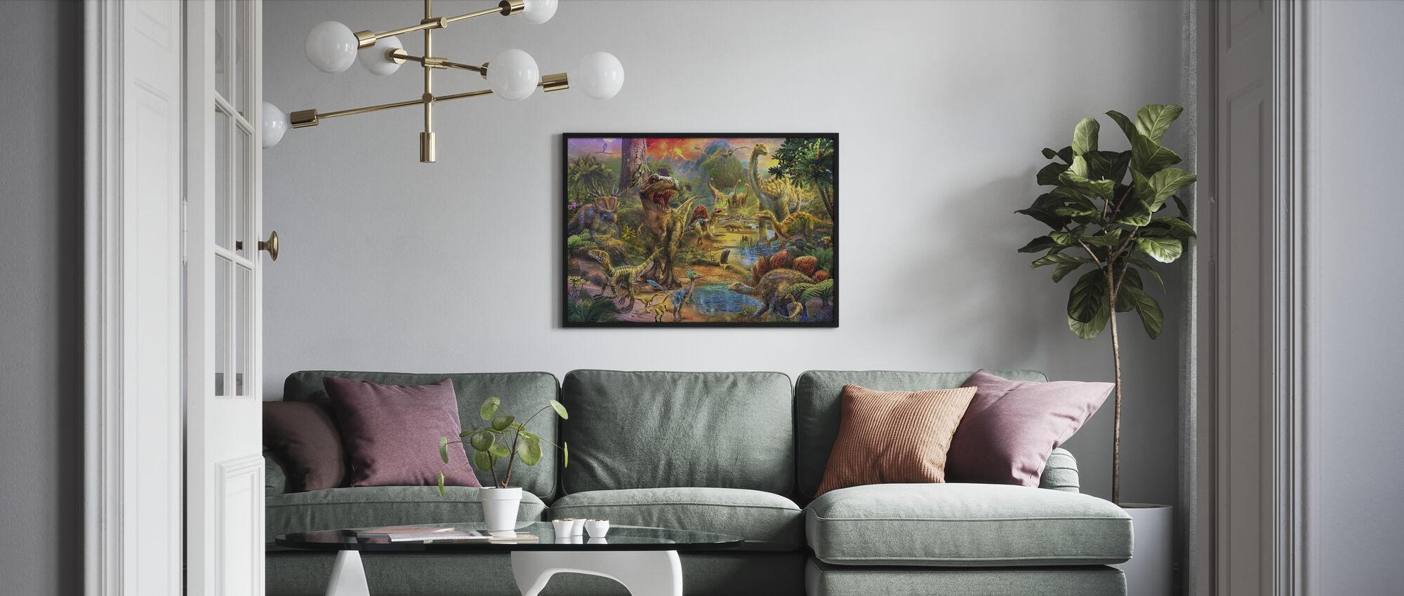Landskapet av dinosaurer - Innrammet bilde - Stue
