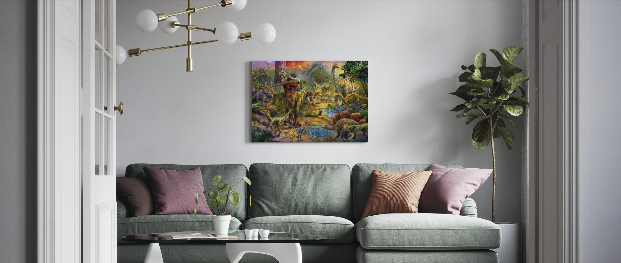 Landscape of Dinosaurs - Canvas print - Living Room