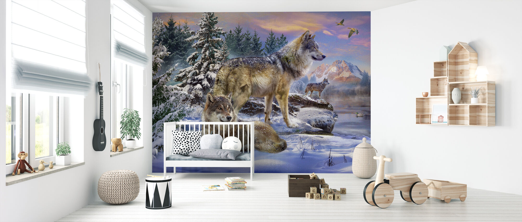 Ulver i vinter - Tapet - Babyrom