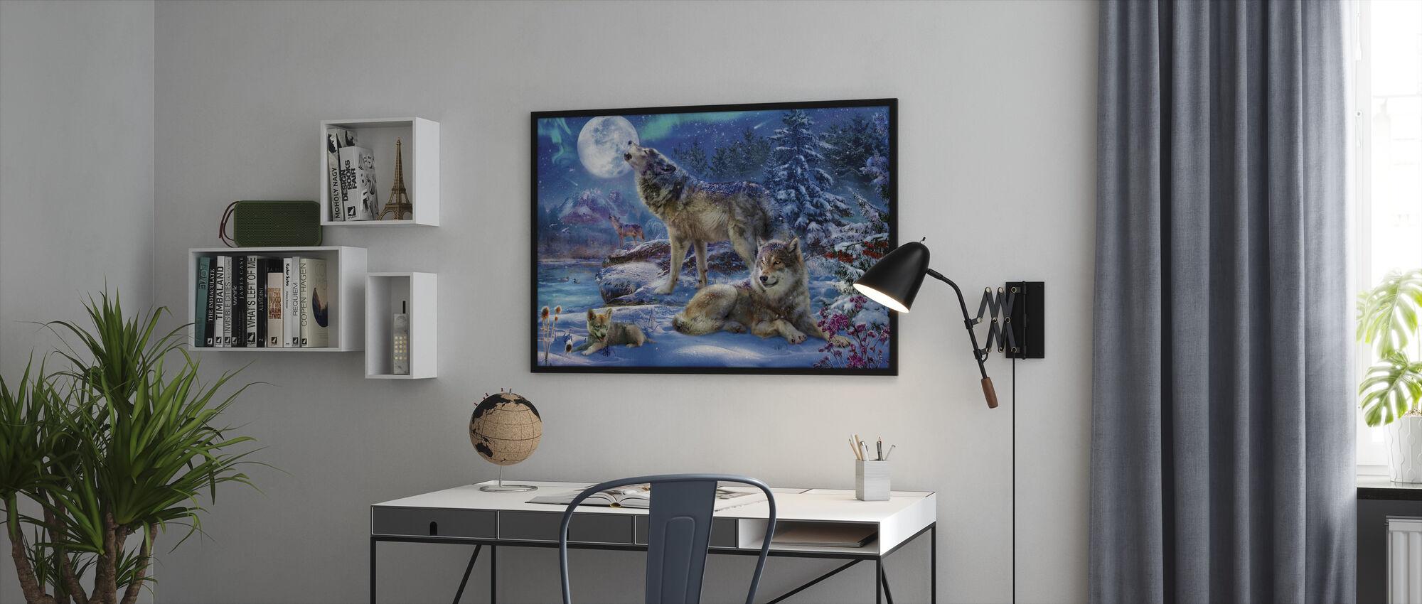 Talvi Wolf Perhe - Kehystetty kuva - Toimisto