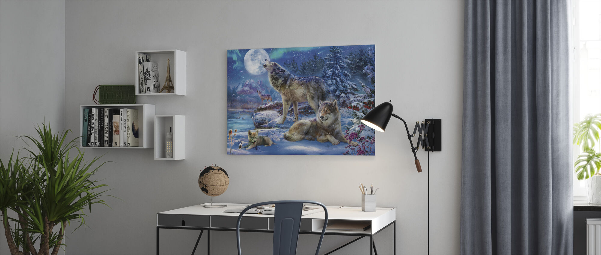 Winter Wolf Family - Canvas print - Office