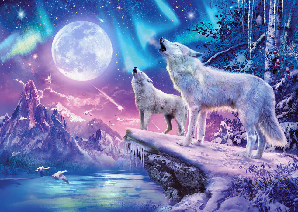 Wolves And Northern Lights Affordable Wall Mural Photowall