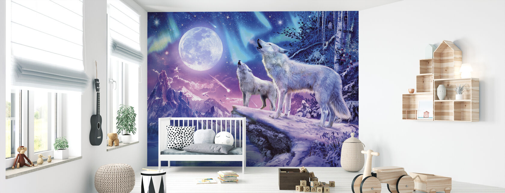 Wolves and Northern Lights - Wallpaper - Nursery