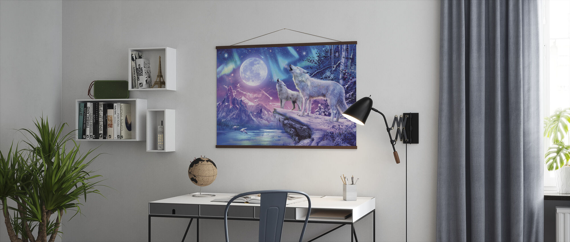 Wolves and Northern Lights - Poster - Office