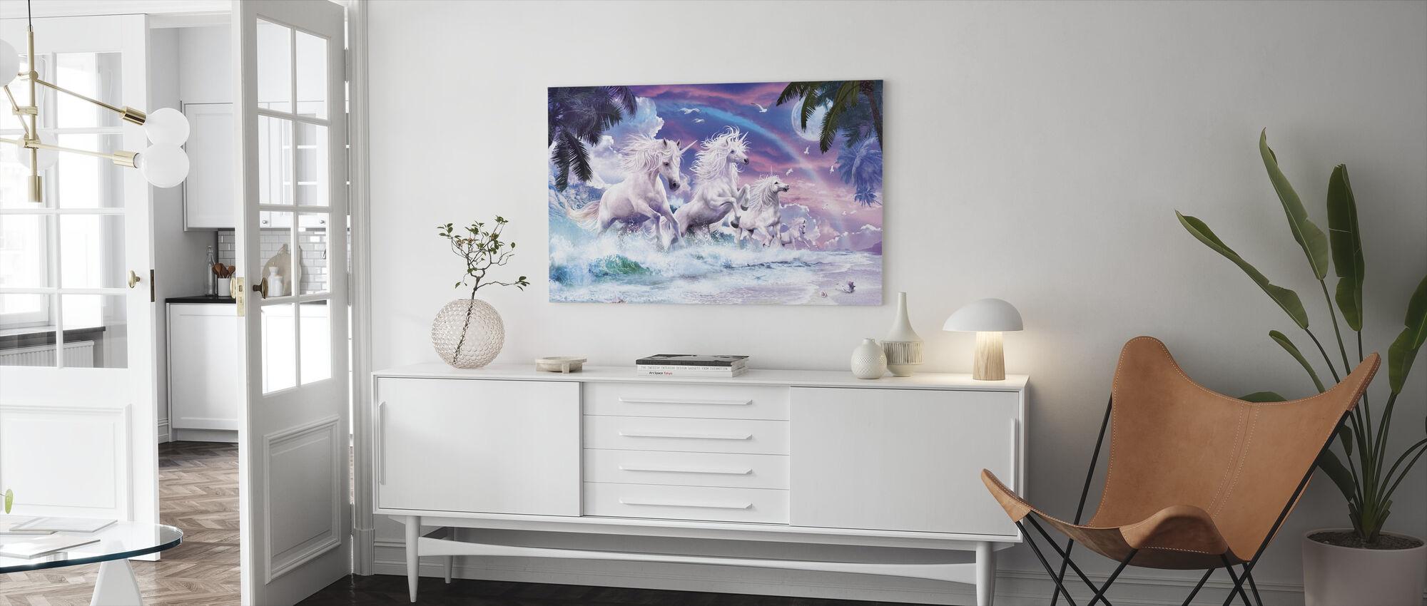 Enhörning vågor - Canvastavla - Vardagsrum