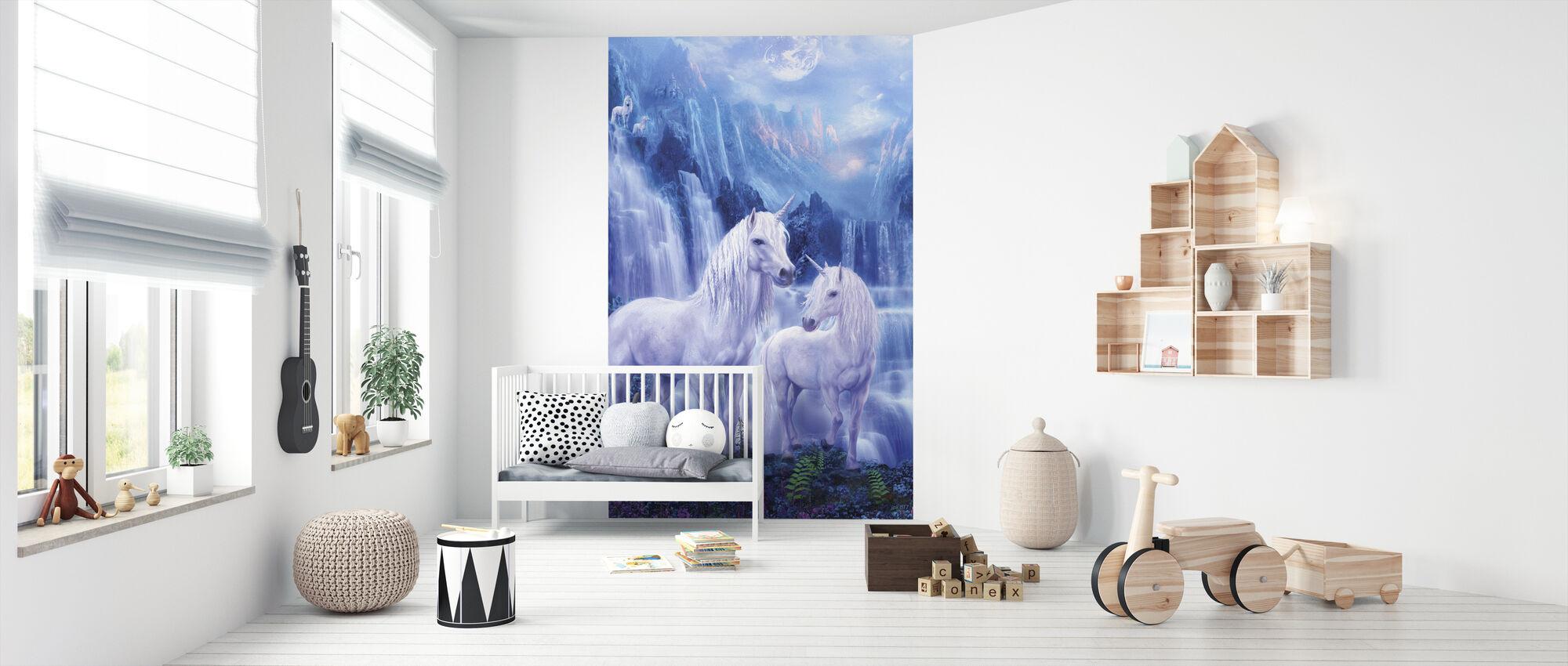 Waterval Eenhoorns - Behang - Babykamer