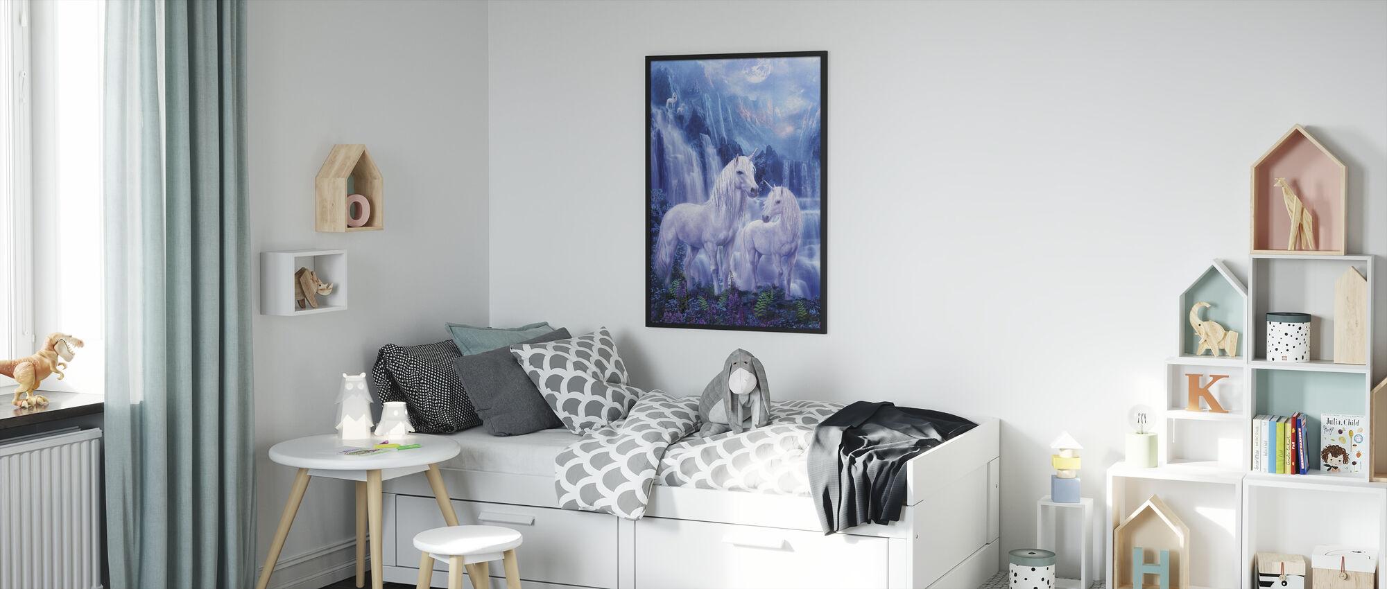 Waterval Eenhoorns - Ingelijste print - Kinderkamer