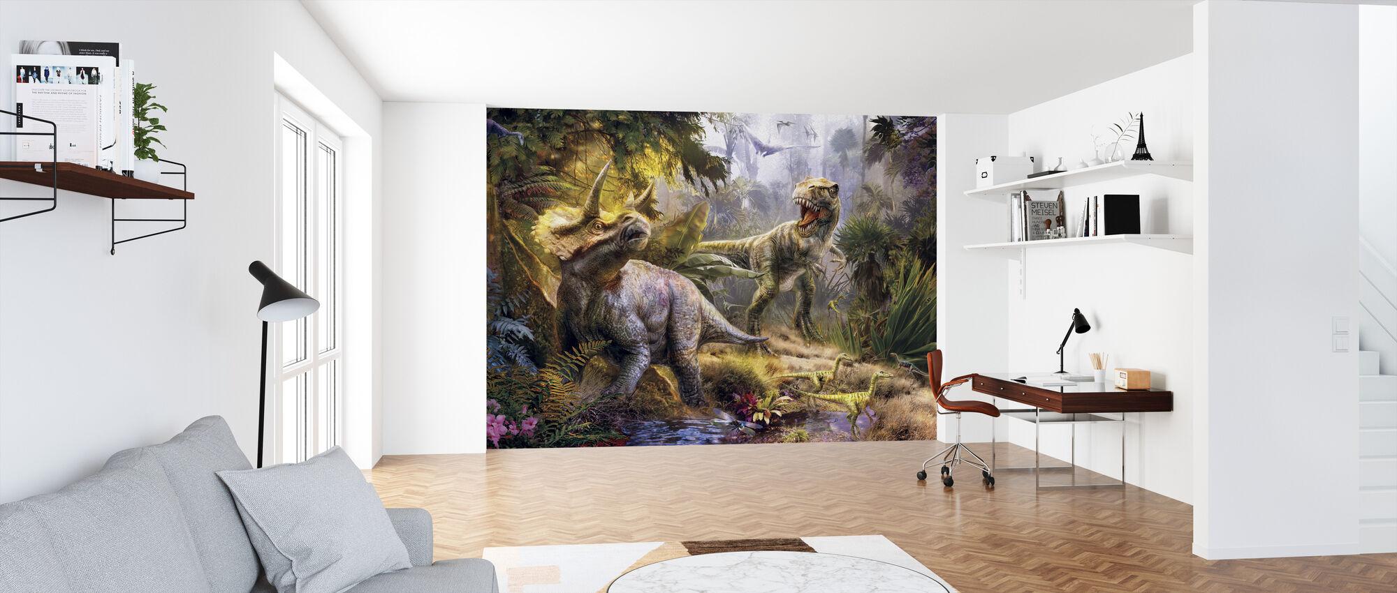 Allosaurus en Triceratops - Behang - Kantoor