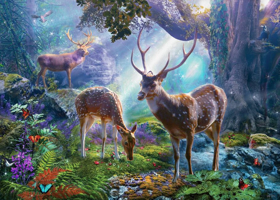 Kuva Three Deer in Forest Tapetit / tapetti 100 x 100 cm