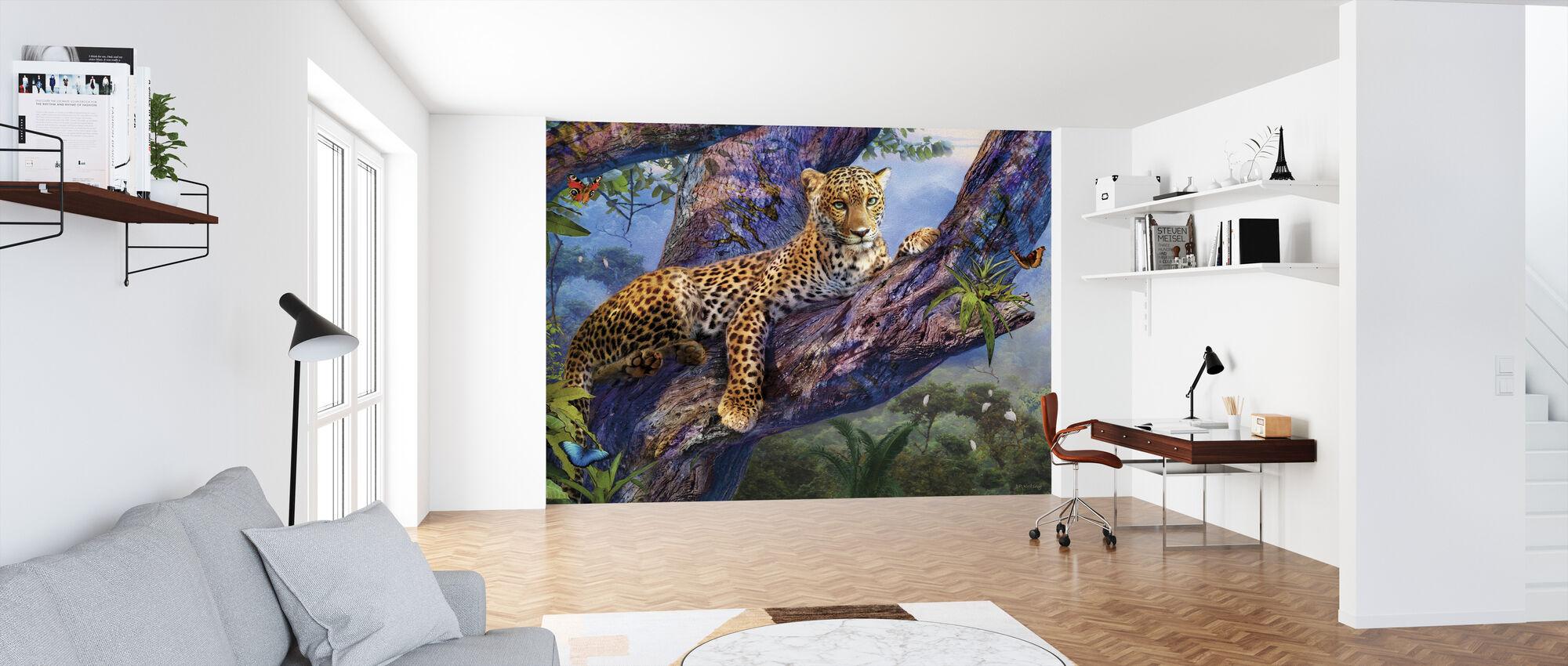 Luipaard Ontspannen in Boom - Behang - Kantoor