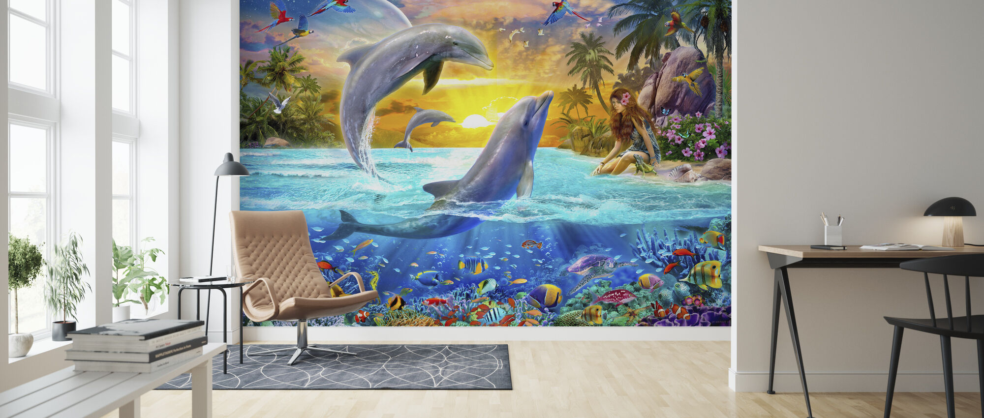Girl and Dolphins - Wallpaper - Living Room