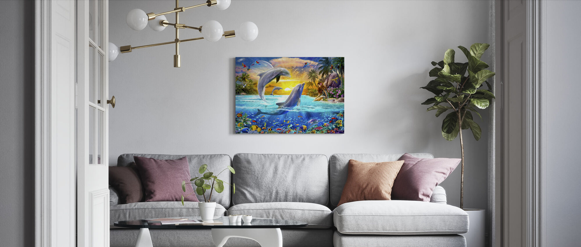 Meisje en Dolfijnen - Canvas print - Woonkamer